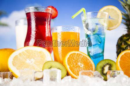 tropical, cocktails, set - 25135618