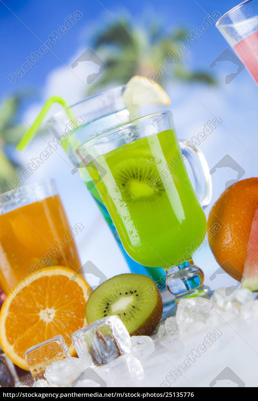 tropical, cocktails, set - 25135776