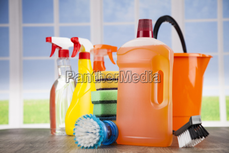 house, cleaning, product, on, wood, table - 25136232