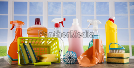 house, cleaning, product, on, wood, table - 25136270