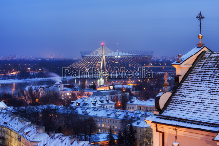 city of warsaw winter evening cityscape