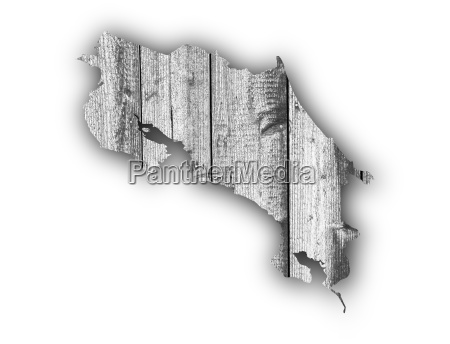 map of costa rica on weathered