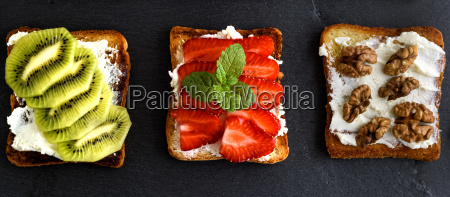three toasts with mild cottage cheese