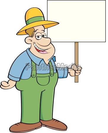 cartoon illustration of a farmer holding