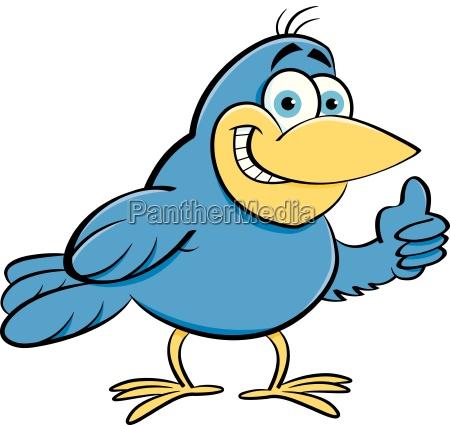 cartoon illustration of a bird giving