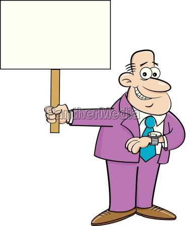 cartoon illustration of a man looking