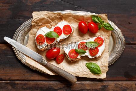 bruschetta, with, cream, cheese, , cherry, tomatoes - 25147404