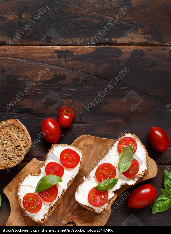 bruschetta, with, cream, cheese, , cherry, tomatoes - 25147406