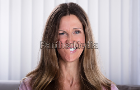 woman's, split, face, with, happy, and - 25147918