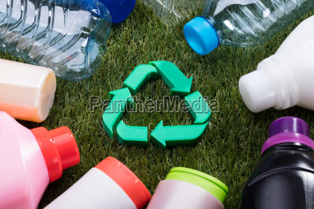 high angle view of green recycle