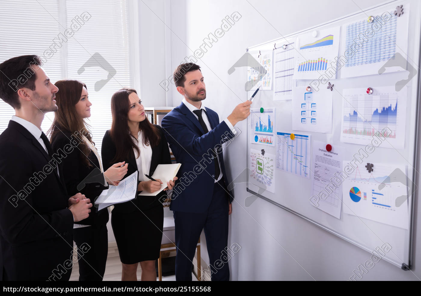 businesspeople, analyzing, graphs, on, white, board - 25155568