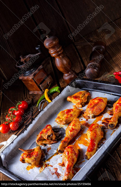 rustic, backed, chicken, wings, legs, on, baking - 25159456