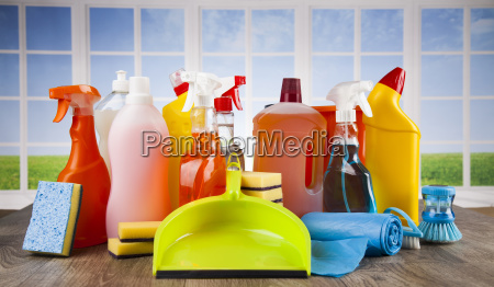 house, cleaning, product, on, wood, table - 25160448