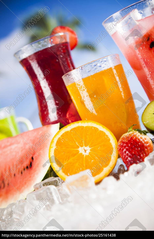 tropical, cocktails, set - 25161438