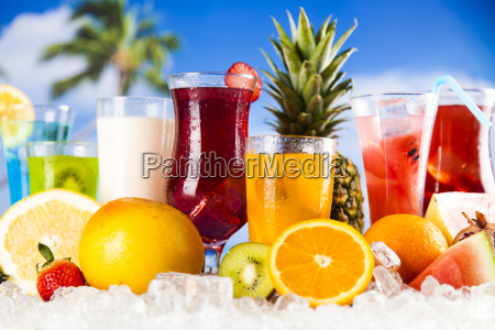 fresh, tropical, fruits, , summer, drink, and - 25162994