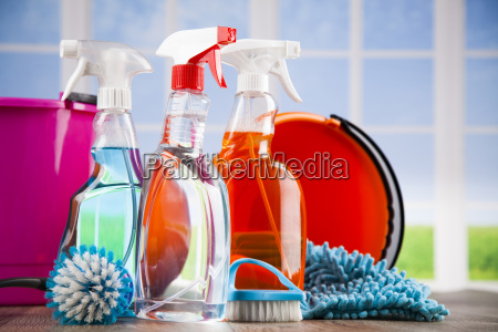 house, cleaning, product, on, wood, table - 25162976