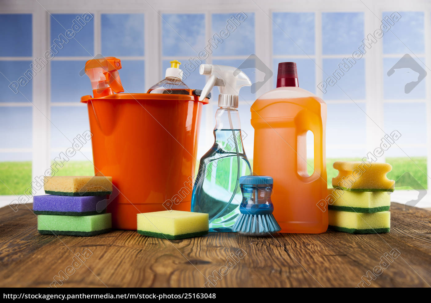 house, cleaning, product, on, wood, table - 25163048