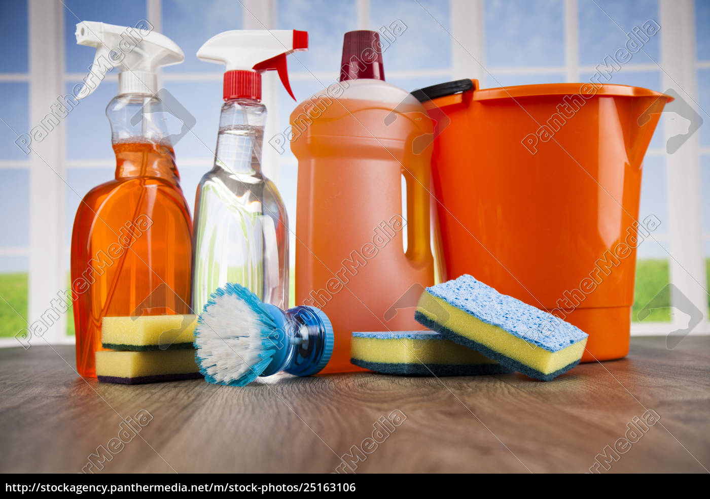 house, cleaning, product, on, wood, table - 25163106