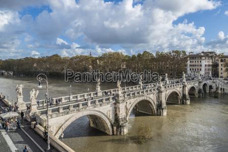 angel bridge tiber with flood