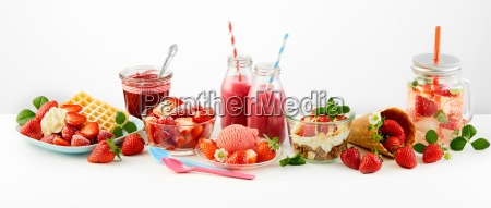 strawberry themed panorama of fresh fruit