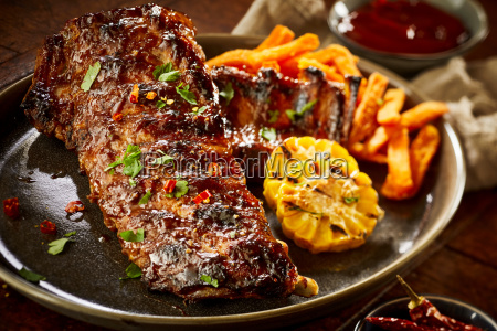 succulent spicy portion of barbecued spare
