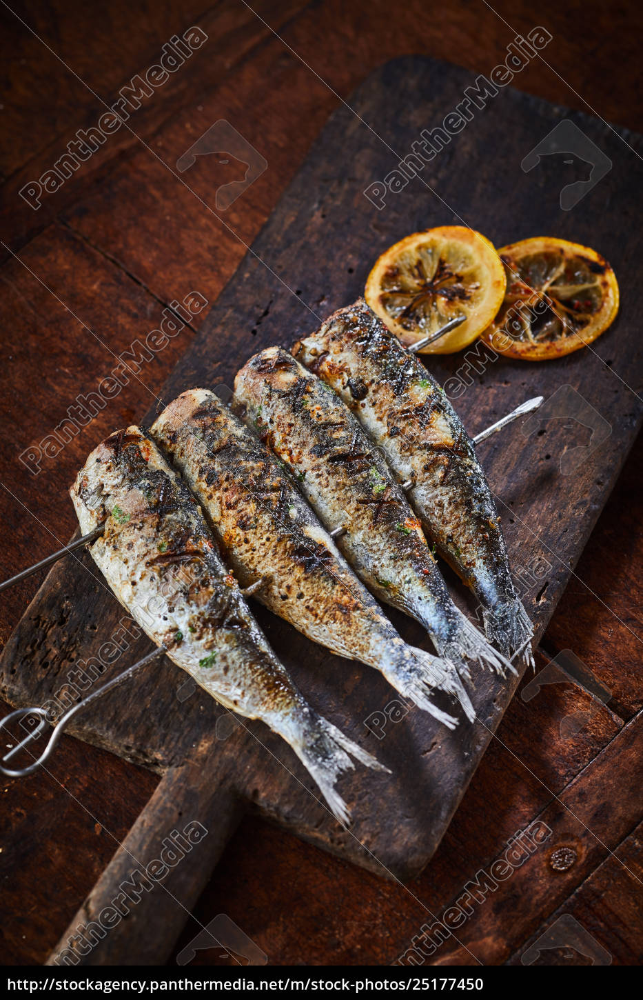 fish, barbecued, on, skewers, , served, on - 25177450