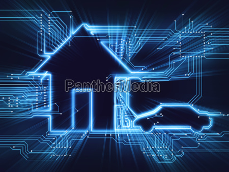 connected home and car concept