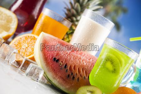 tropical, cocktails, set - 25206576