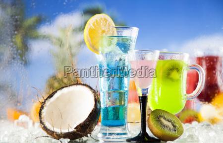 tropical, cocktails, set - 25207288
