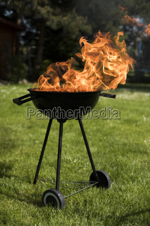 barbecue, grill, with, fire, on, nature, - 25210940