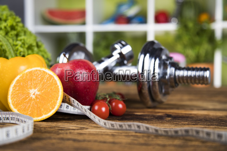 fitness, concept, with, dumbbells, and, fresh - 25210636