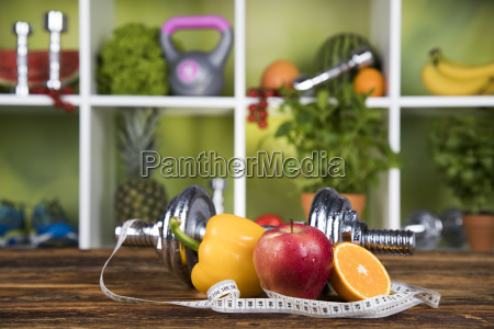fitness, concept, with, dumbbells, and, fresh - 25210964