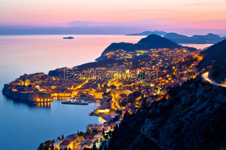 historic town of dubrovnik aerial sunset