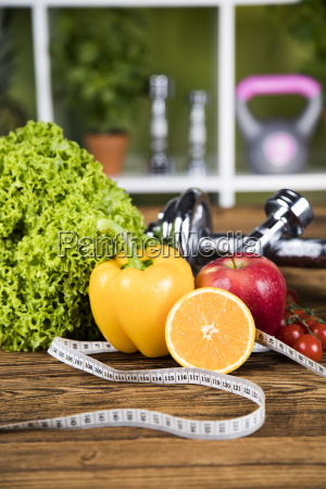 sport, , fitness, , dumbbell, and, diet, concept - 25211144