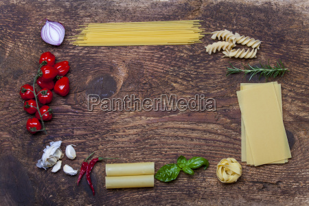frame made from pasta and ingredients