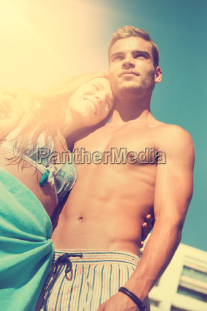 young, couple, at, the, beach - 25218536
