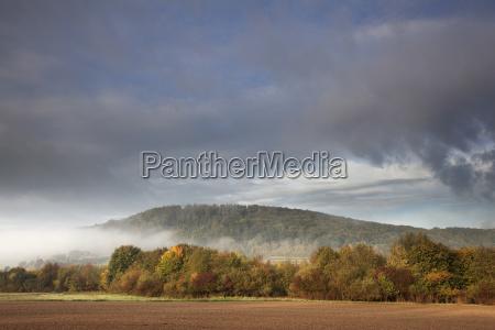 bucolic hill fog sights europe autumnal