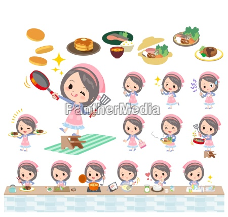 blue clothes headband girl cooking