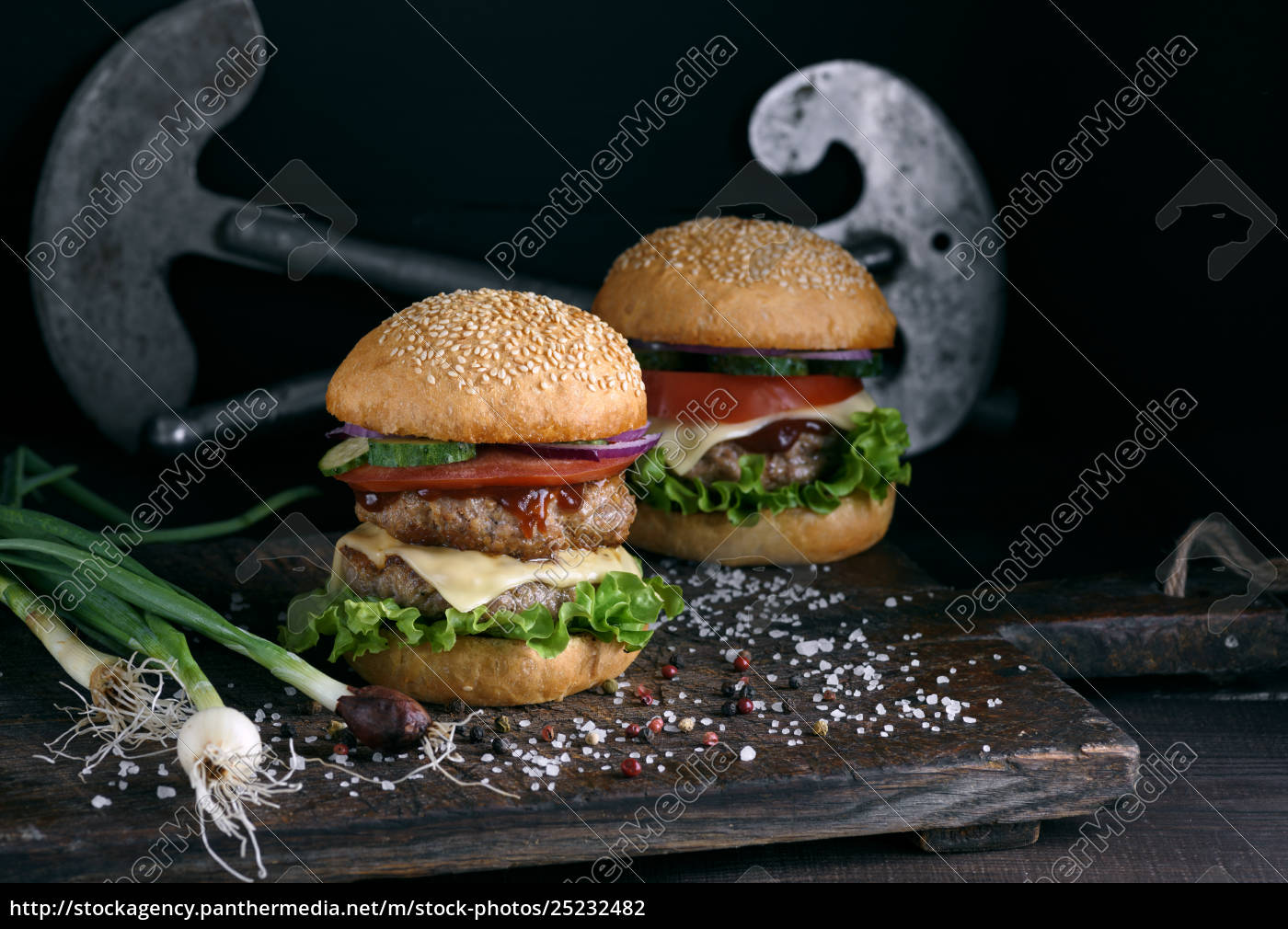 double, burger, with, vegetables, and, cheese - 25232482
