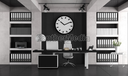 black, and, white, minimalist, office - 25233254