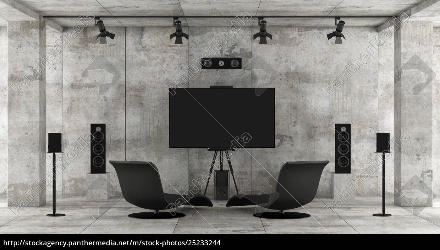 home, cinema, system, in, a, concrete - 25233244