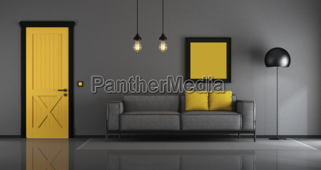 yellow, and, gray, minimalist, living, room - 25233250