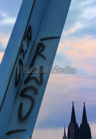 cologne cathedral with grafitti on a
