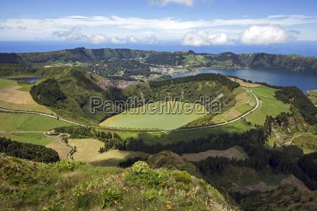 view in the volcanic crater caldera