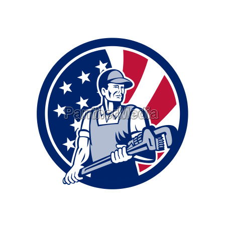 american plumber and pipefitter usa flag