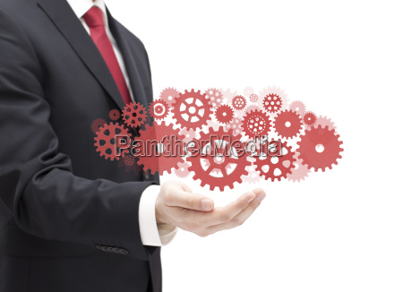 businessman, with, gears, , concept, of, well - 25267488
