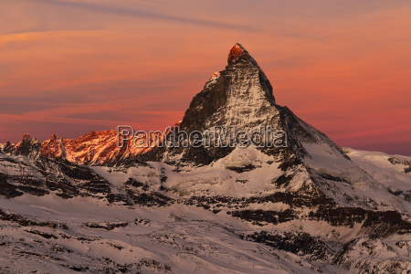matterhorn in dawn sunrise valais alps