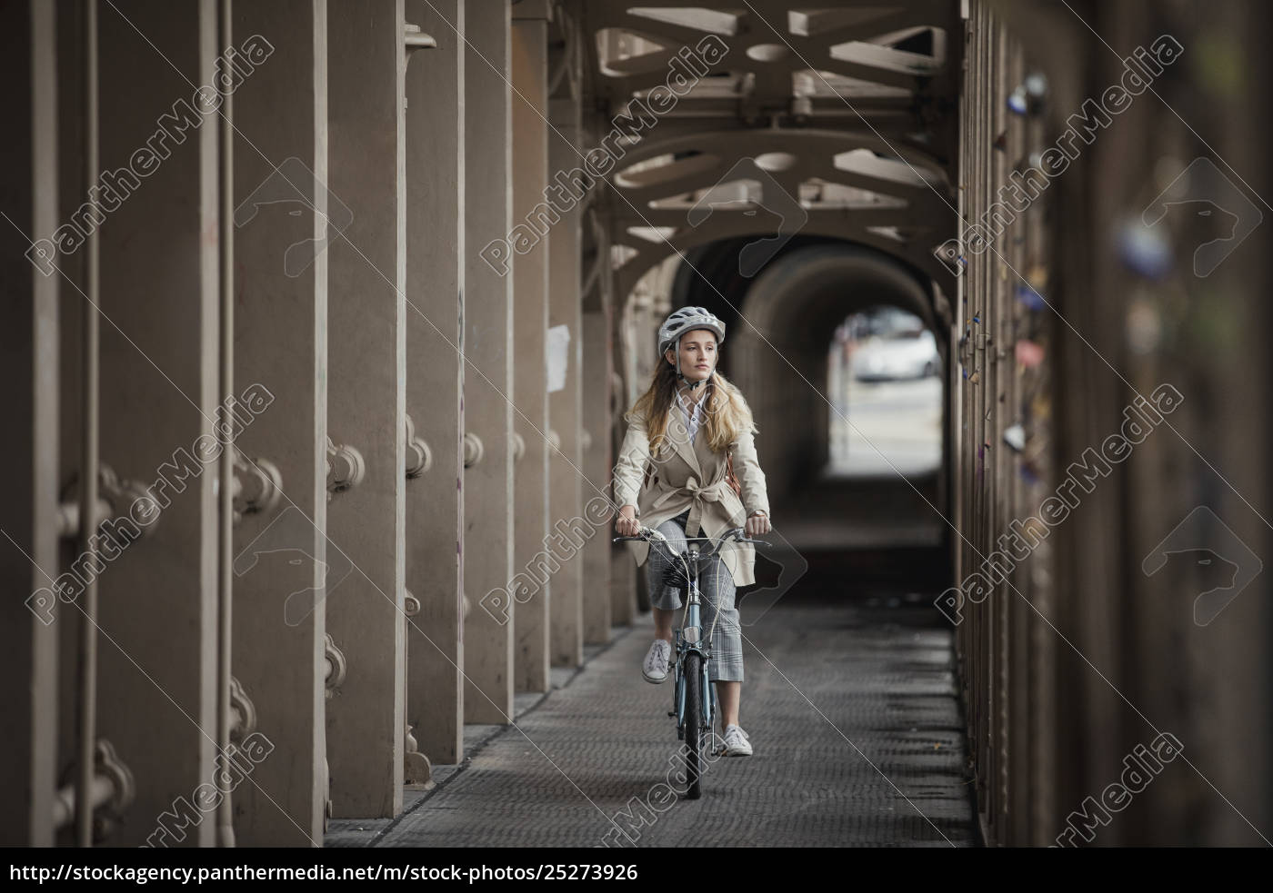 young, female, adult, cycling, over, a - 25273926