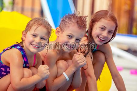 happy children in aqua park