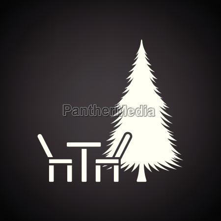 park seat and pine tree icon